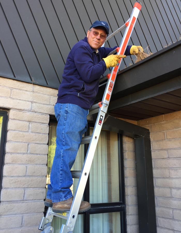 Dan Evans on a Ladder, home inspector